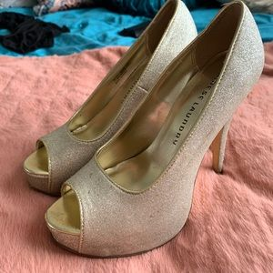 Sparkly gold heels